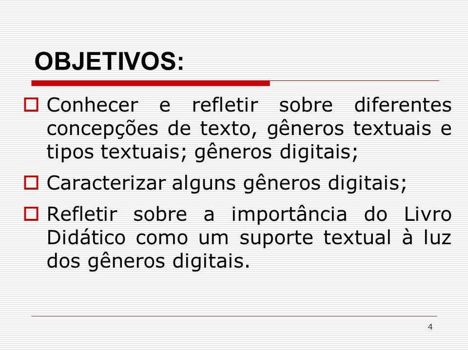 OBJETIVOS: Conhecer e refletir sobre diferentes concepções de texto, gêneros textuais e tipos textuais; gêneros digitais;