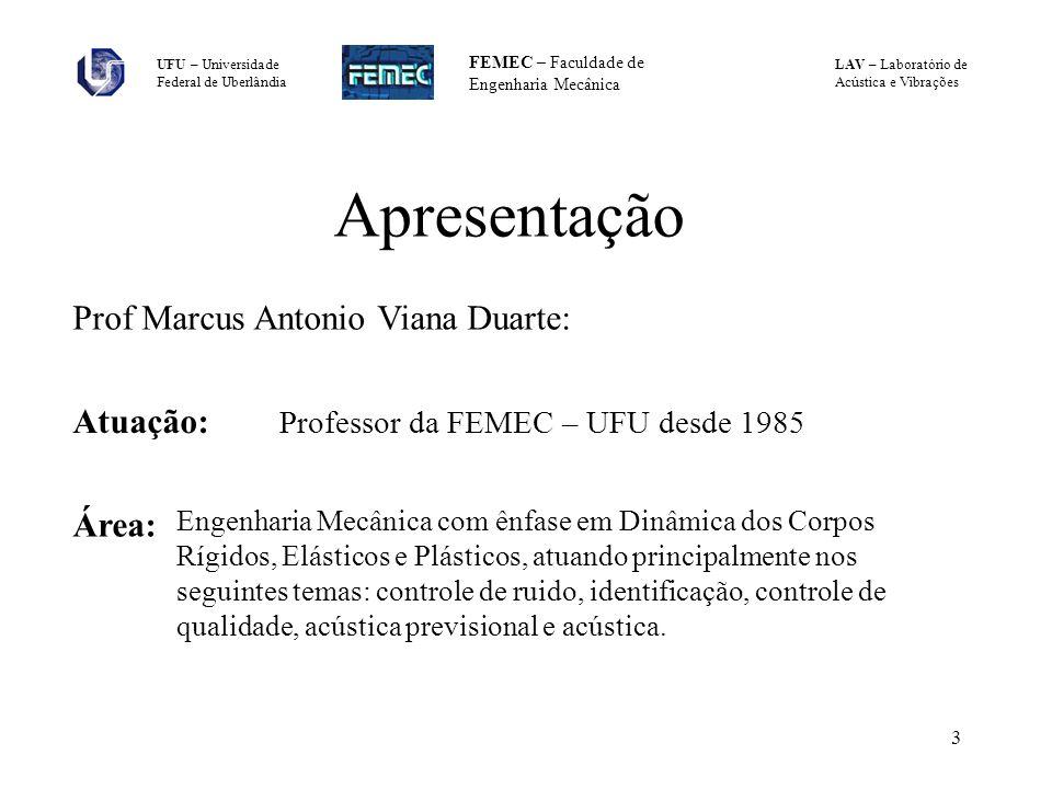 Apresentação Prof Marcus Antonio Viana Duarte: Atuação: Área: