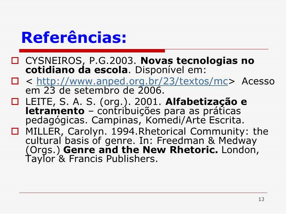 Referências: CYSNEIROS, P.G.2003. Novas tecnologias no cotidiano da escola. Disponível em: