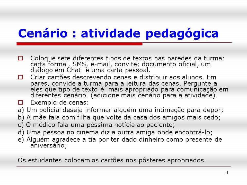 Cenário : atividade pedagógica