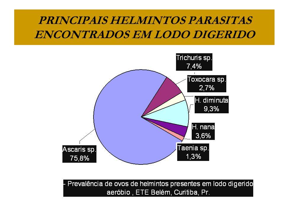 PRINCIPAIS HELMINTOS PARASITAS ENCONTRADOS EM LODO DIGERIDO