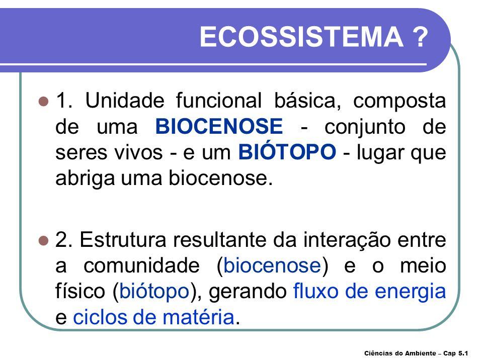 ECOSSISTEMA 1. Unidade funcional básica, composta de uma BIOCENOSE - conjunto de seres vivos - e um BIÓTOPO - lugar que abriga uma biocenose.