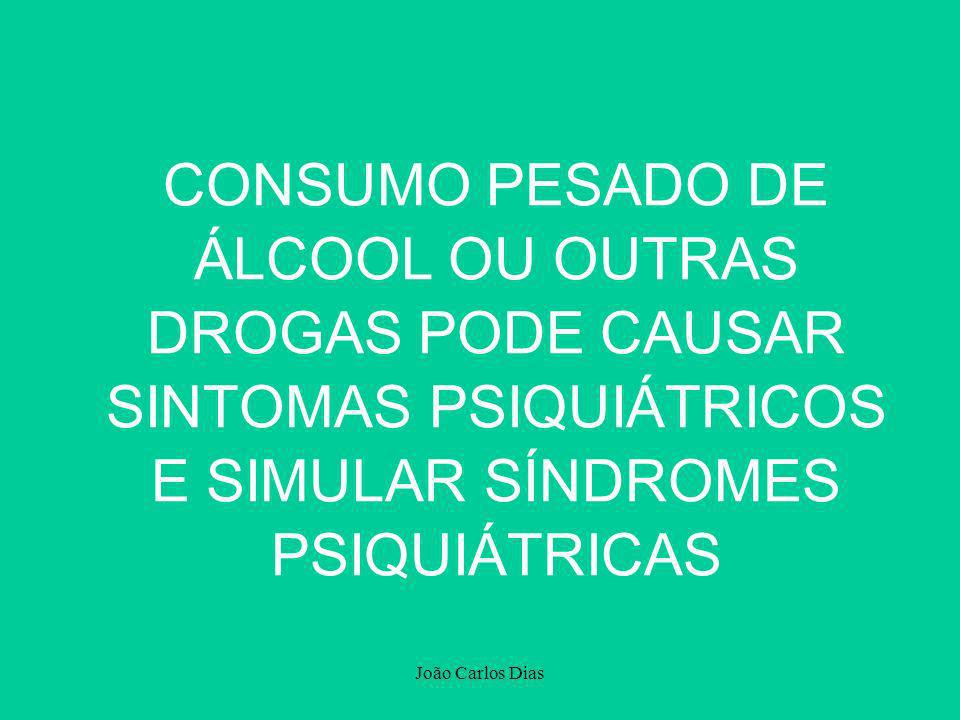 CONSUMO PESADO DE ÁLCOOL OU OUTRAS DROGAS PODE CAUSAR SINTOMAS PSIQUIÁTRICOS E SIMULAR SÍNDROMES PSIQUIÁTRICAS