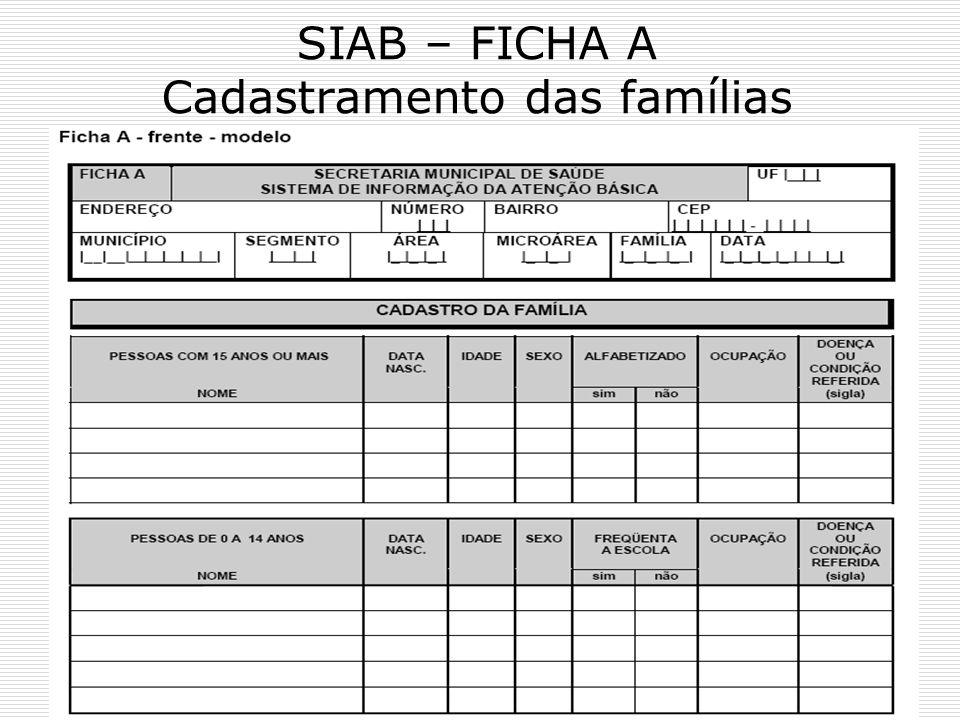 SIAB – FICHA A Cadastramento das famílias