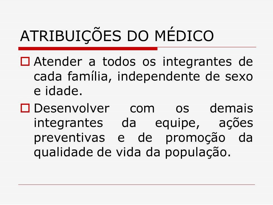 ATRIBUIÇÕES DO MÉDICO Atender a todos os integrantes de cada família, independente de sexo e idade.