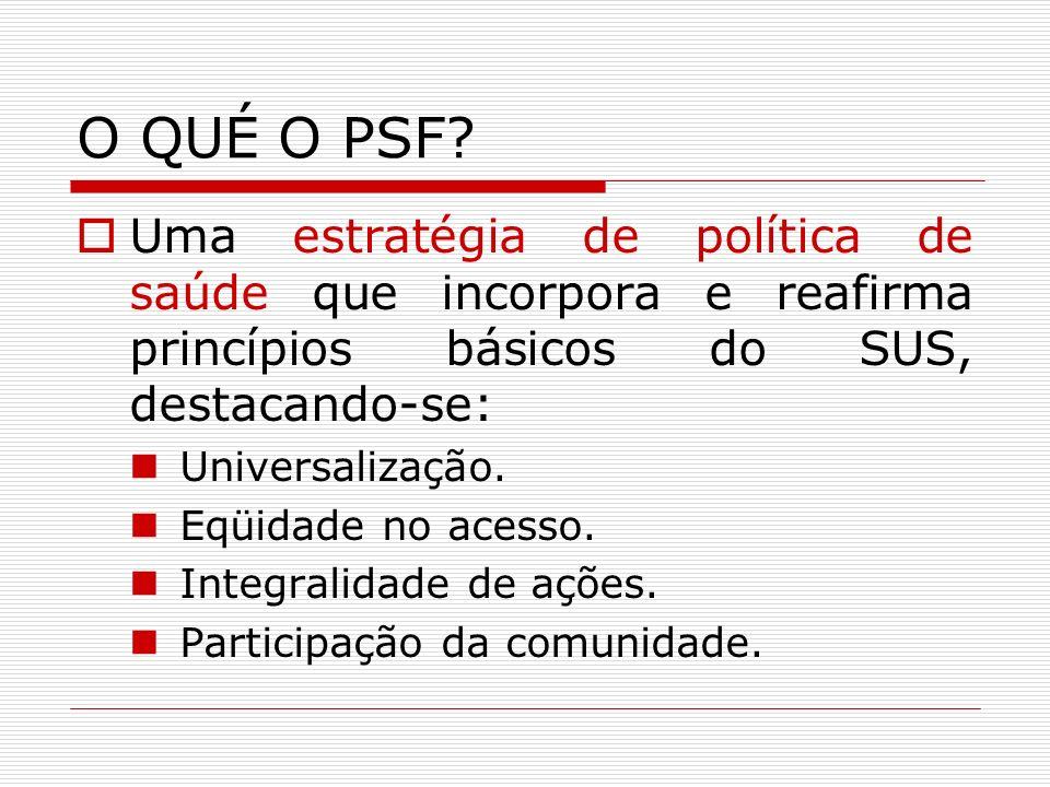 O QUÉ O PSF Uma estratégia de política de saúde que incorpora e reafirma princípios básicos do SUS, destacando-se: