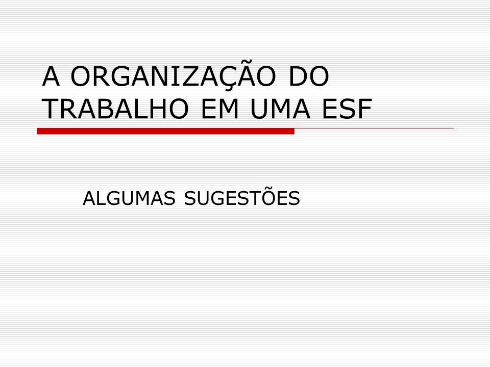 A ORGANIZAÇÃO DO TRABALHO EM UMA ESF