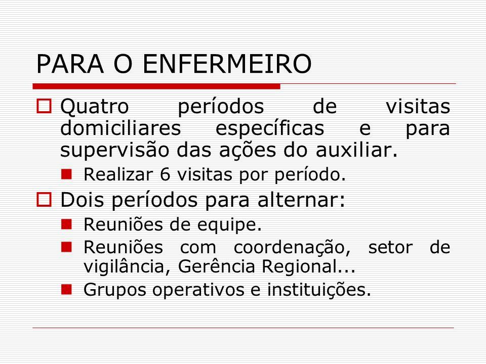 PARA O ENFERMEIROQuatro períodos de visitas domiciliares específicas e para supervisão das ações do auxiliar.