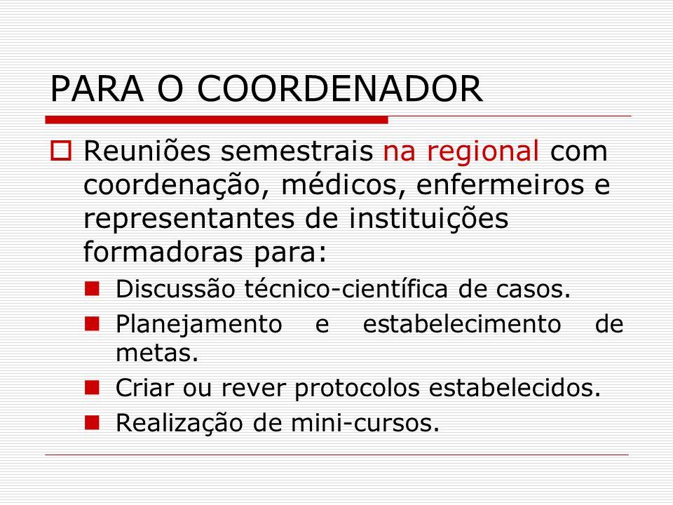 PARA O COORDENADORReuniões semestrais na regional com coordenação, médicos, enfermeiros e representantes de instituições formadoras para: