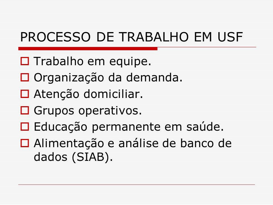 PROCESSO DE TRABALHO EM USF
