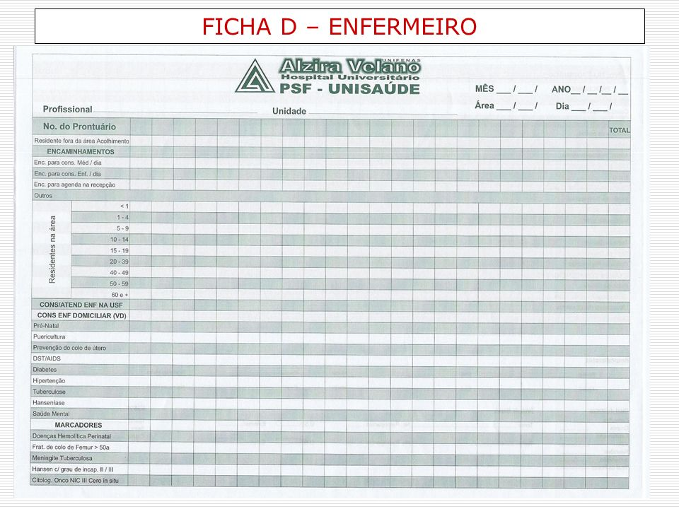 FICHA D – ENFERMEIRO