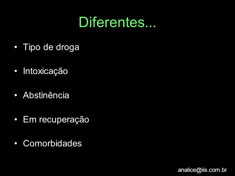 Diferentes... Tipo de droga Intoxicação Abstinência Em recuperação