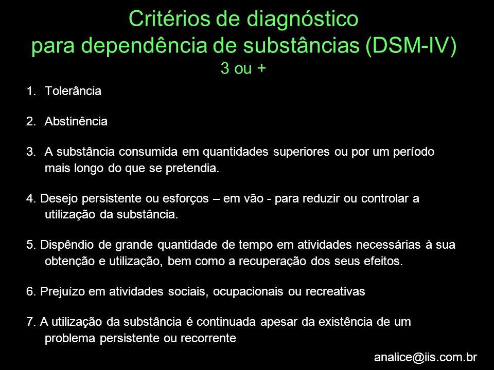 Critérios de diagnóstico para dependência de substâncias (DSM-IV) 3 ou +