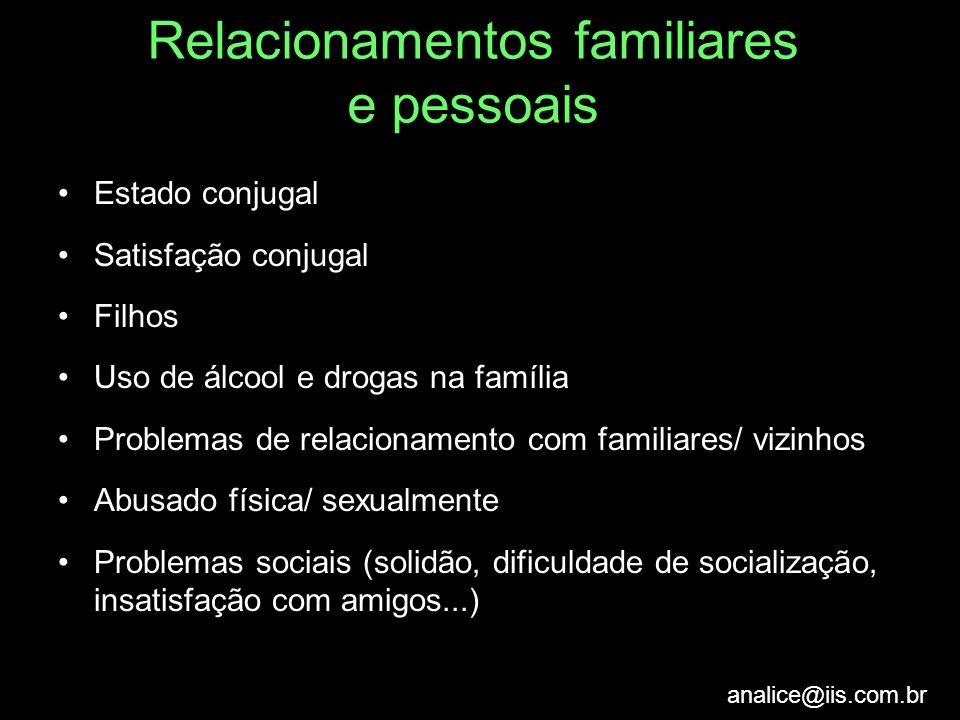 Relacionamentos familiares e pessoais