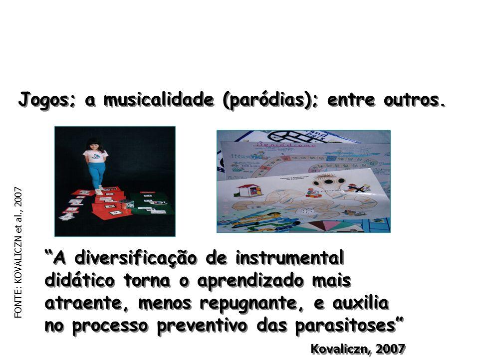 Jogos; a musicalidade (paródias); entre outros.