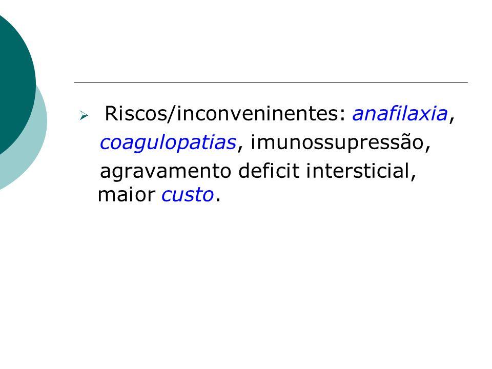 Riscos/inconveninentes: anafilaxia,