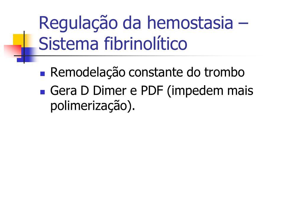 Regulação da hemostasia – Sistema fibrinolítico