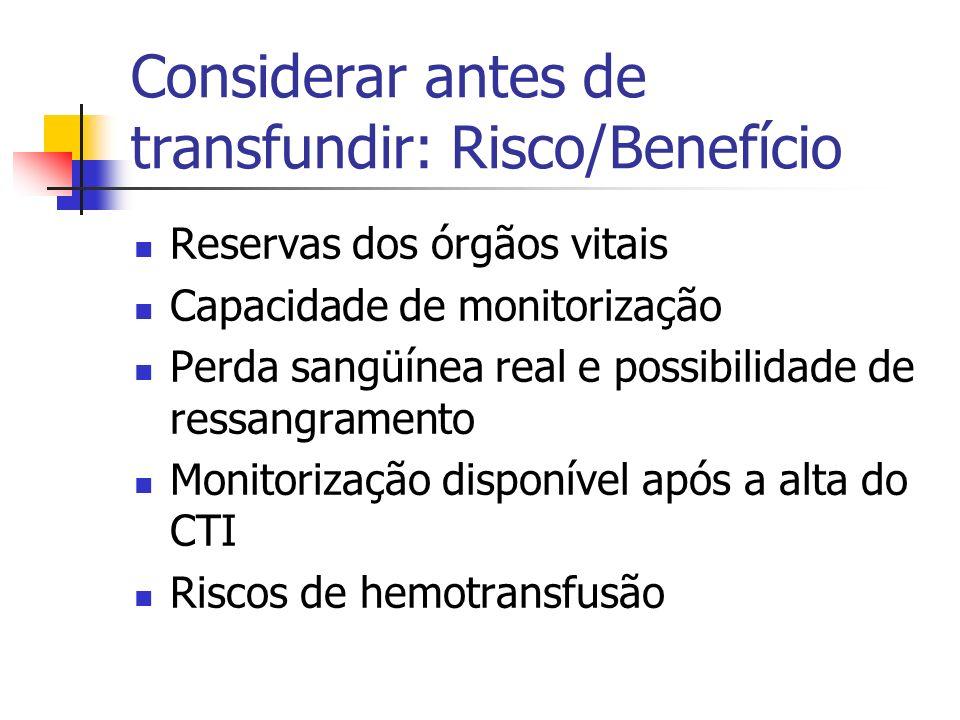 Considerar antes de transfundir: Risco/Benefício