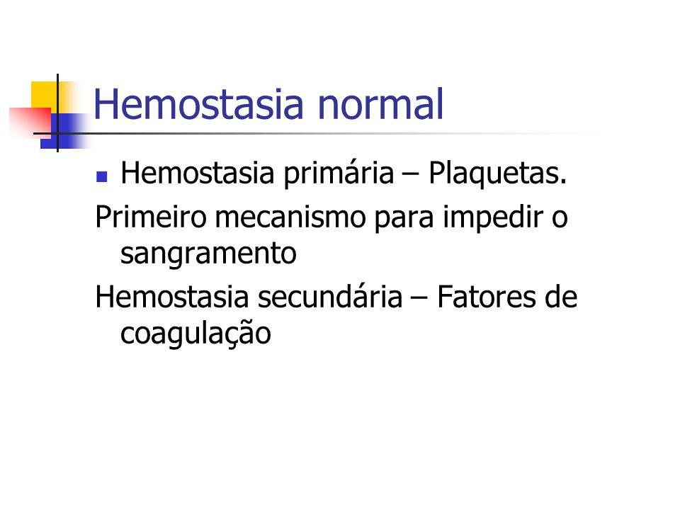 Hemostasia normal Hemostasia primária – Plaquetas.
