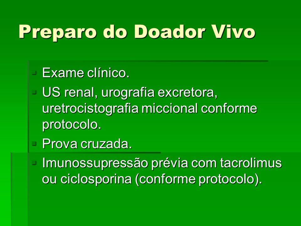 Preparo do Doador Vivo Exame clínico.