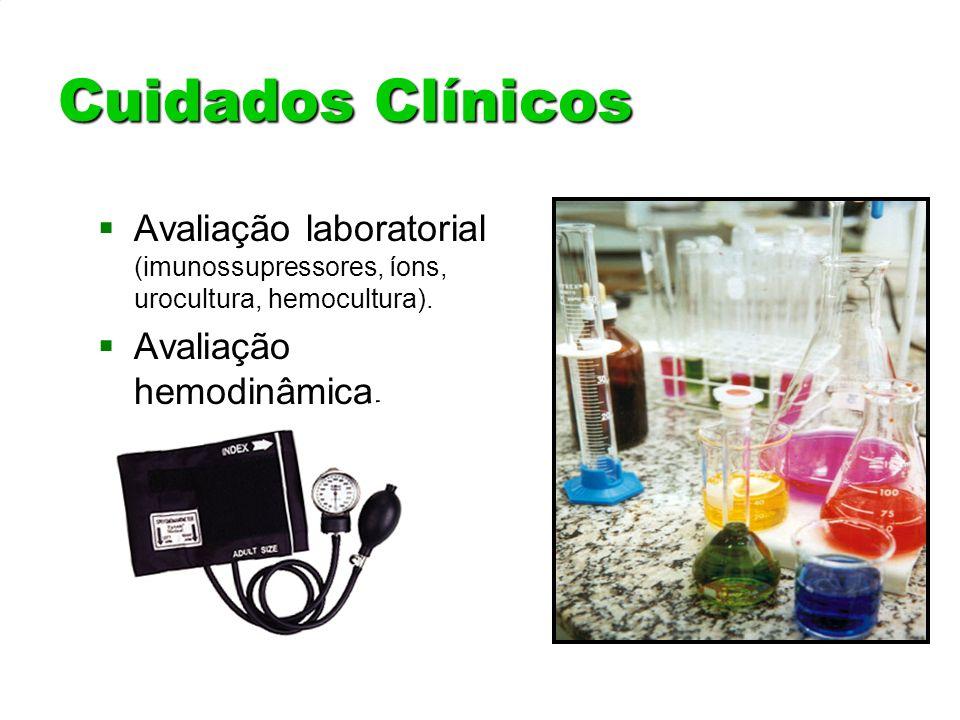 Cuidados Clínicos Avaliação laboratorial (imunossupressores, íons, urocultura, hemocultura). Avaliação hemodinâmica.
