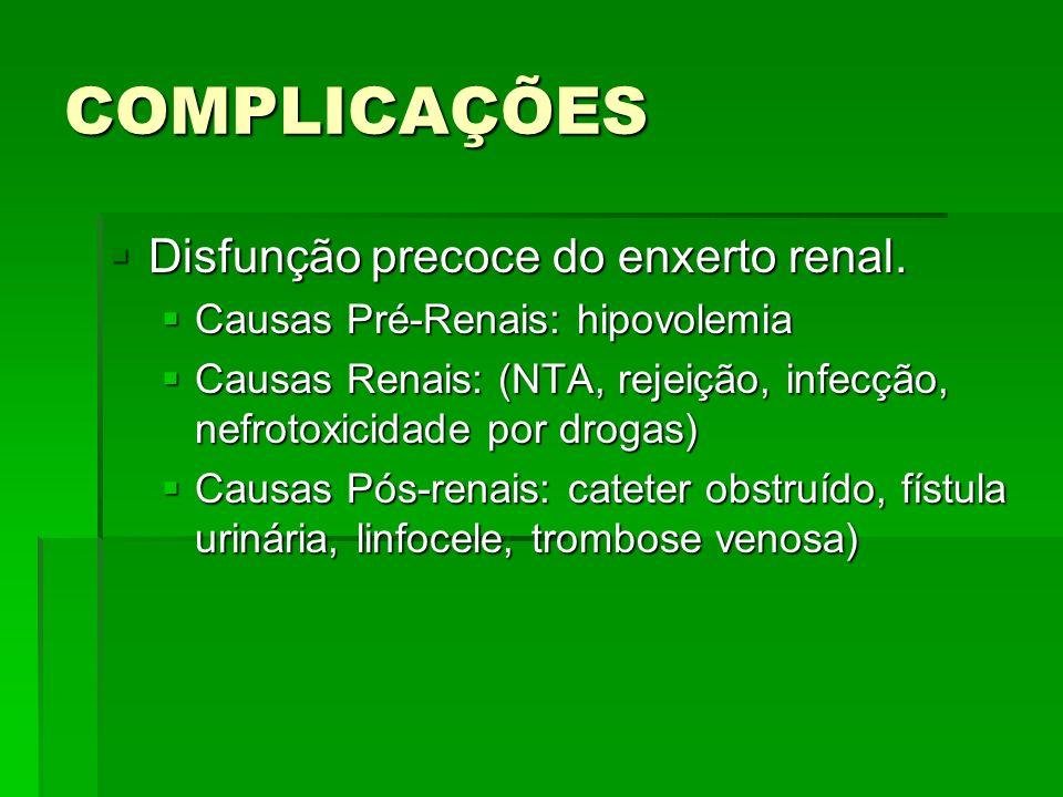 COMPLICAÇÕES Disfunção precoce do enxerto renal.