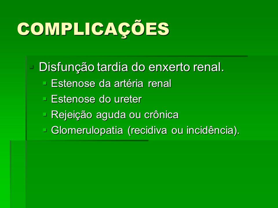 COMPLICAÇÕES Disfunção tardia do enxerto renal.