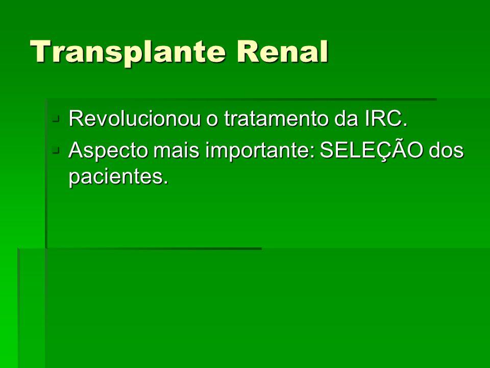Transplante Renal Revolucionou o tratamento da IRC.