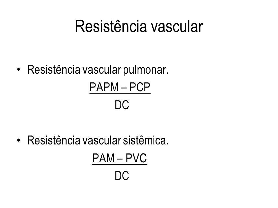 Resistência vascular Resistência vascular pulmonar. PAPM – PCP DC