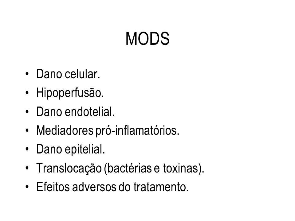 MODS Dano celular. Hipoperfusão. Dano endotelial.