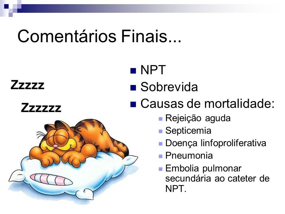 Comentários Finais... NPT Sobrevida Zzzzz Causas de mortalidade:
