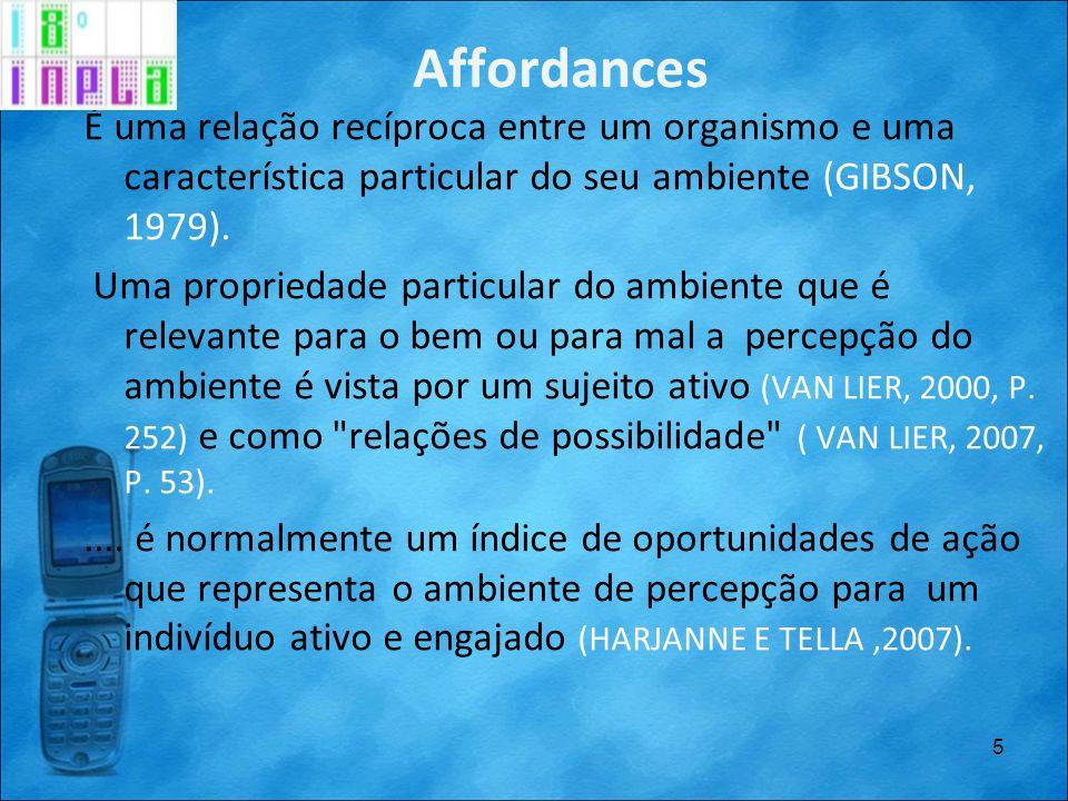 Affordances É uma relação recíproca entre um organismo e uma característica particular do seu ambiente (GIBSON, 1979).
