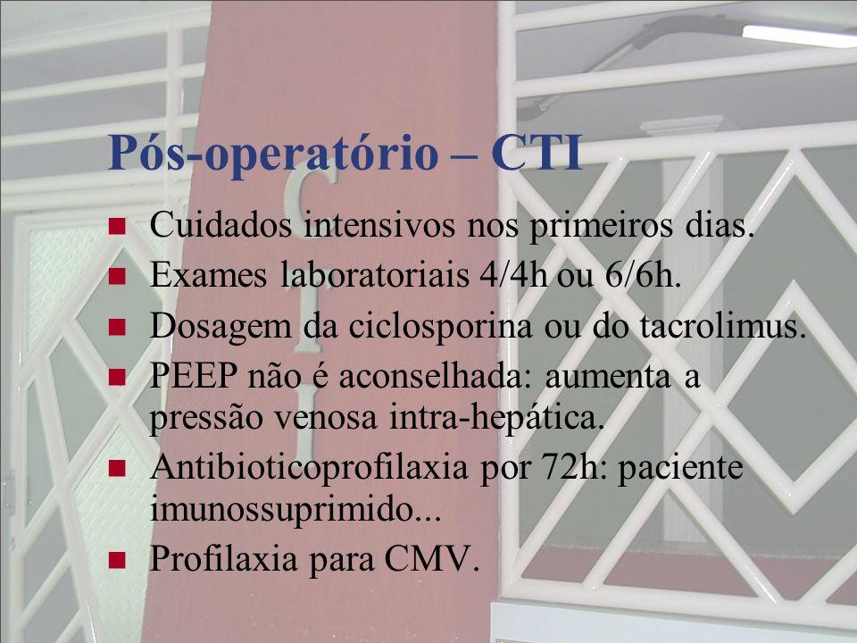Pós-operatório – CTI Cuidados intensivos nos primeiros dias.