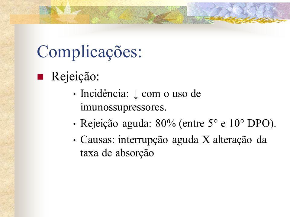 Complicações: Rejeição: Incidência: ↓ com o uso de imunossupressores.