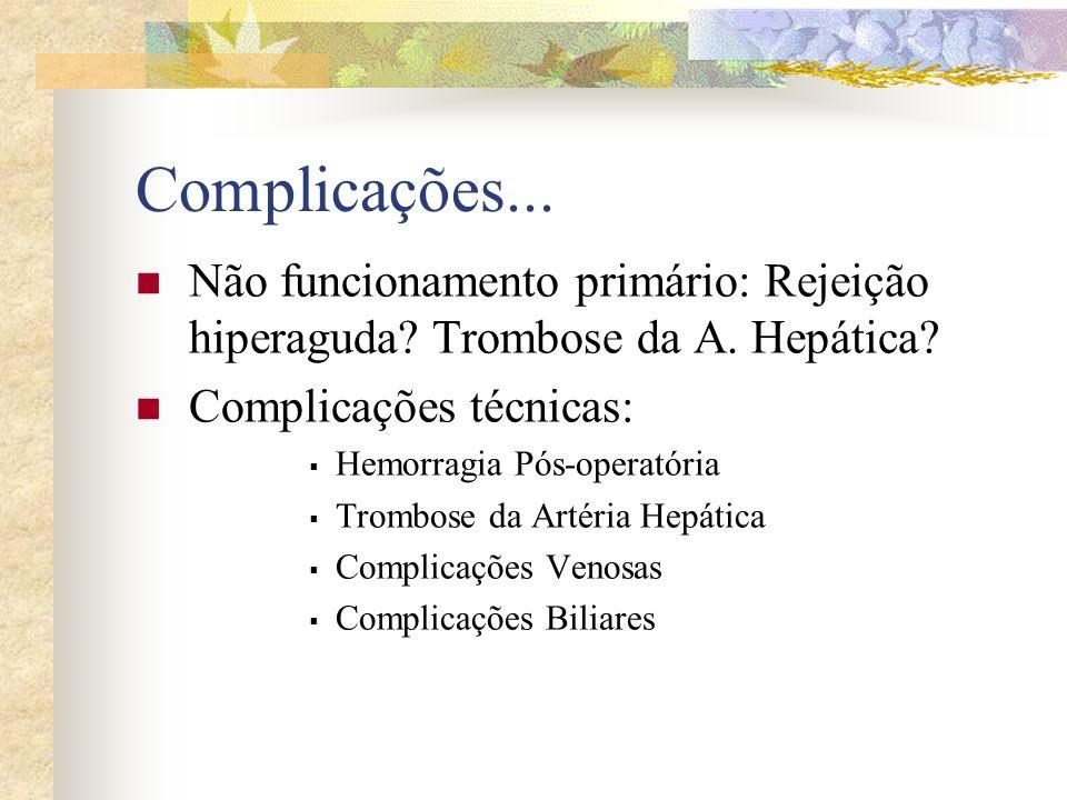 Complicações... Não funcionamento primário: Rejeição hiperaguda Trombose da A. Hepática Complicações técnicas: