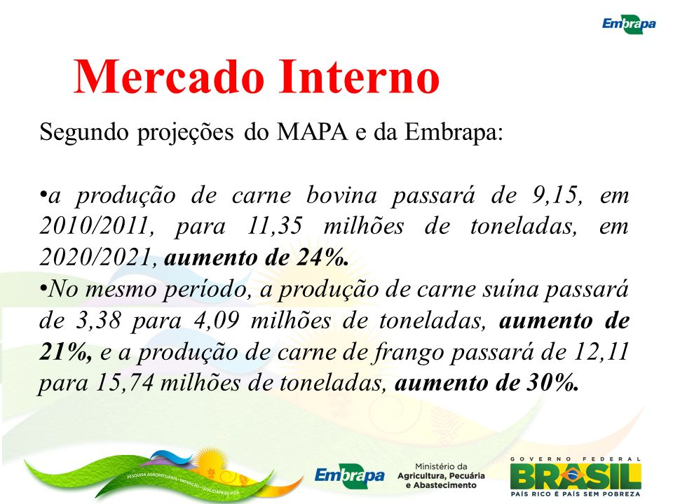 Mercado Interno Segundo projeções do MAPA e da Embrapa: