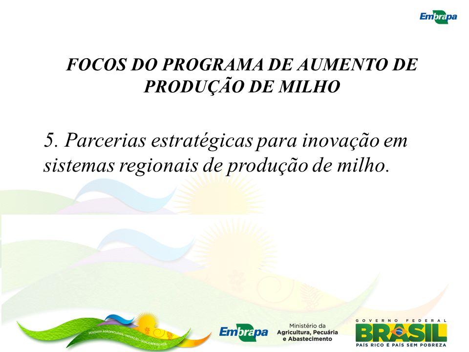 FOCOS DO PROGRAMA DE AUMENTO DE PRODUÇÃO DE MILHO