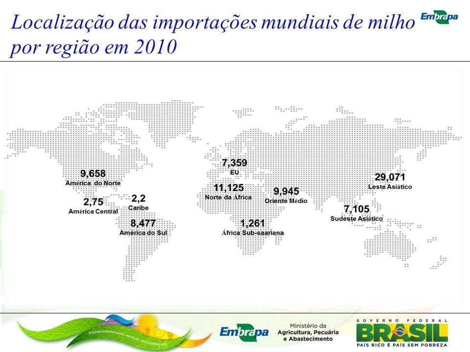 Localização das importações mundiais de milho por região em 2010