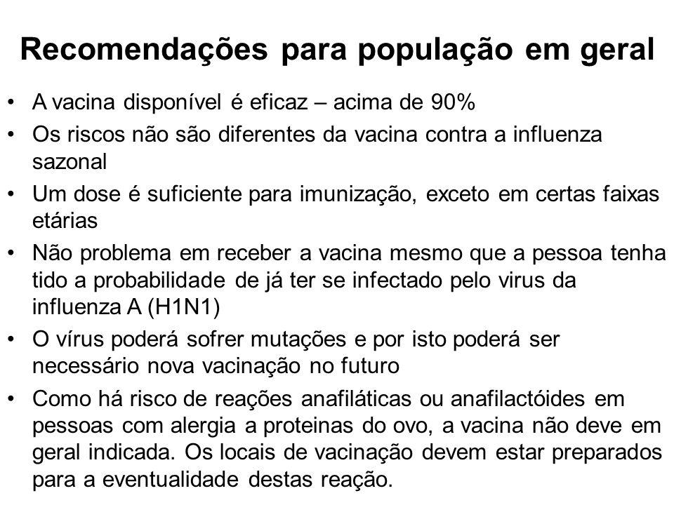 Recomendações para população em geral