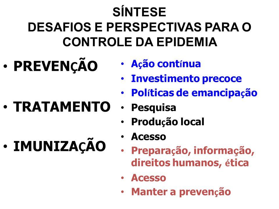SÍNTESE DESAFIOS E PERSPECTIVAS PARA O CONTROLE DA EPIDEMIA