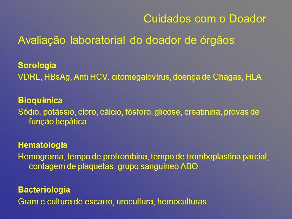 Avaliação laboratorial do doador de órgãos
