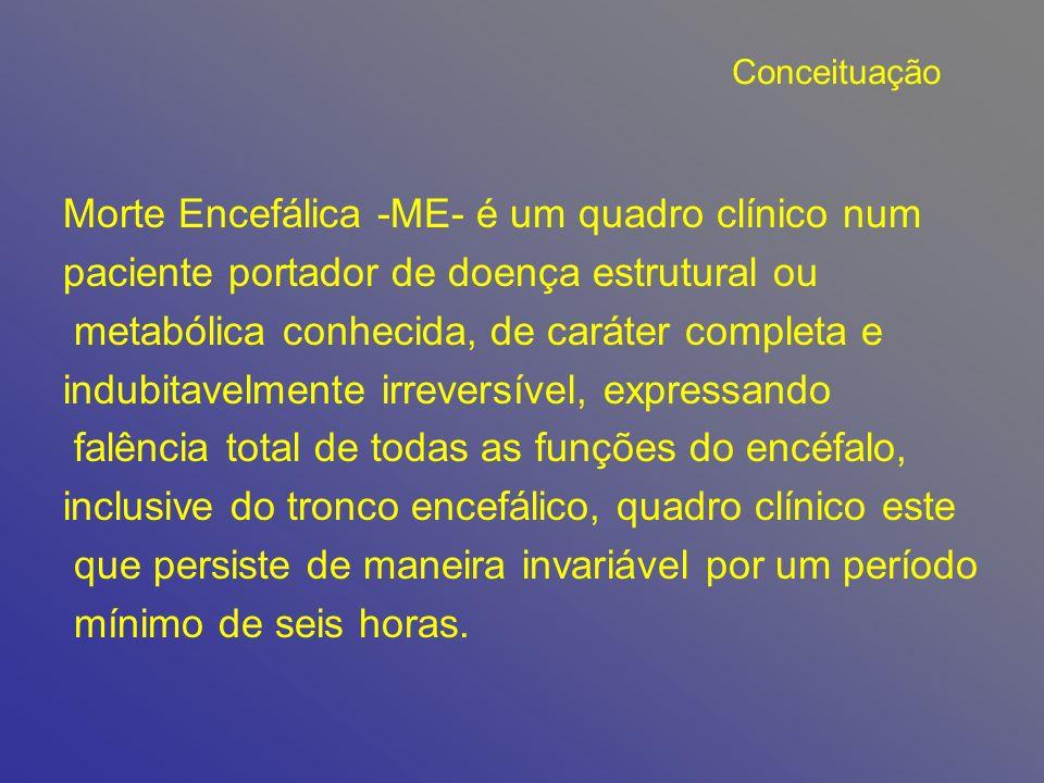 Morte Encefálica -ME- é um quadro clínico num