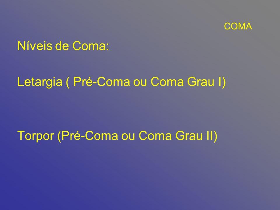 Letargia ( Pré-Coma ou Coma Grau I)