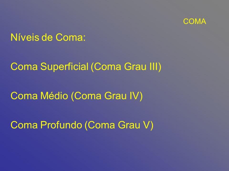 Coma Superficial (Coma Grau III) Coma Médio (Coma Grau IV)