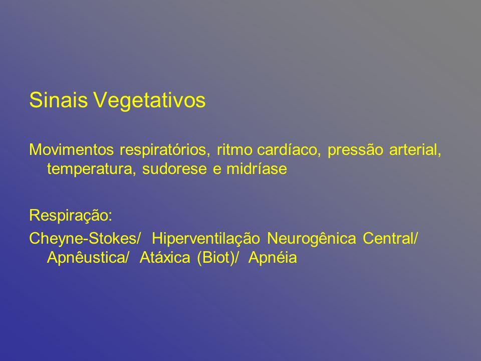 Sinais Vegetativos Movimentos respiratórios, ritmo cardíaco, pressão arterial, temperatura, sudorese e midríase.