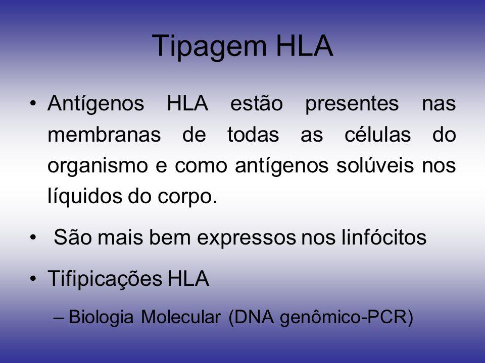 Tipagem HLA Antígenos HLA estão presentes nas membranas de todas as células do organismo e como antígenos solúveis nos líquidos do corpo.