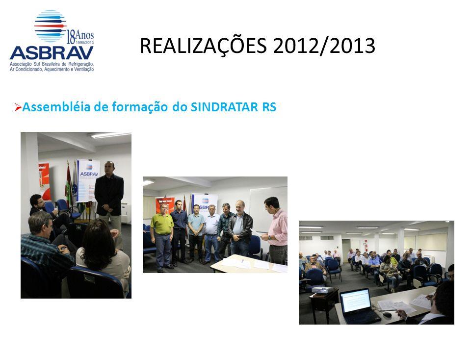 REALIZAÇÕES 2012/2013 Assembléia de formação do SINDRATAR RS