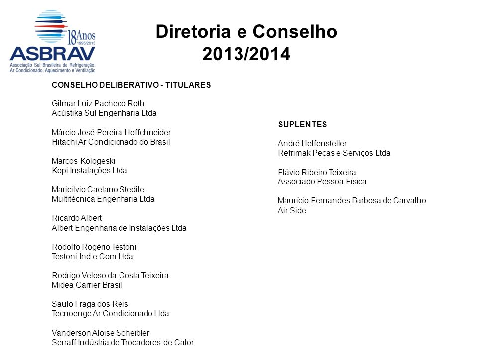 Diretoria e Conselho 2013/2014 CONSELHO DELIBERATIVO - TITULARES