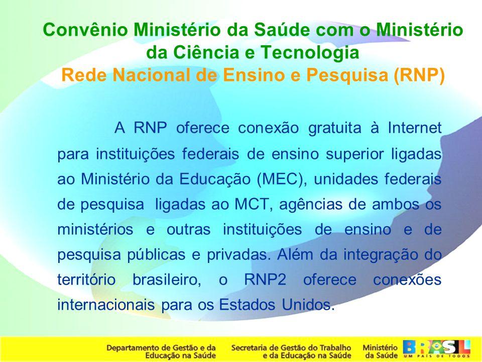 Convênio Ministério da Saúde com o Ministério da Ciência e Tecnologia Rede Nacional de Ensino e Pesquisa (RNP)