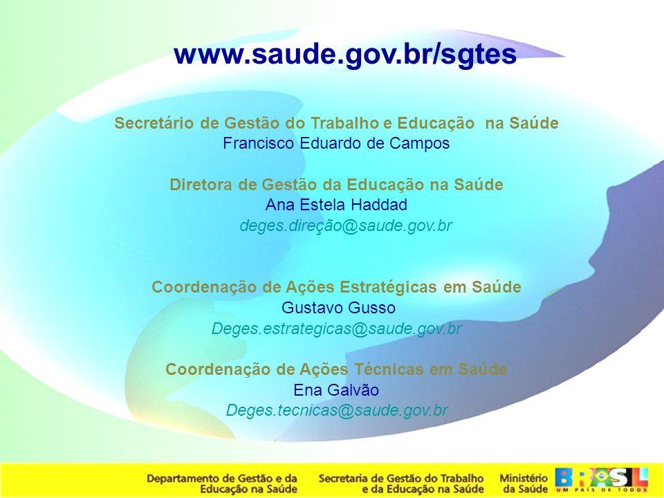 www.saude.gov.br/sgtes Secretário de Gestão do Trabalho e Educação na Saúde. Francisco Eduardo de Campos.